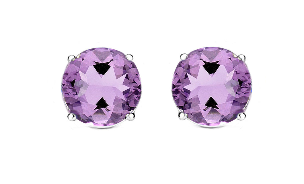 1ct - Sophisticated Sterling Silver Amethyst Stud Earrings