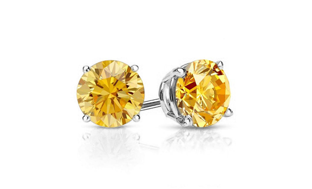 1ct - Sophisticated Sterling Silver Citrine Stud Earrings