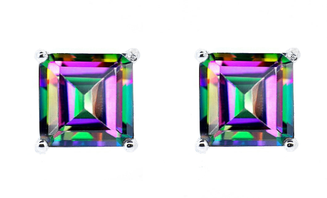 1ct - Sophisticated Sterling Silver Princess Cut Mystic Topaz Stud Earrings