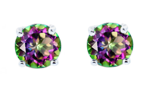 1ct - Sophisticated Sterling Silver Mystic Topaz Stud Earrings