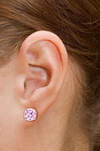 1ct - Sophisticated Sterling Silver Rose Quartz Stud Earrings