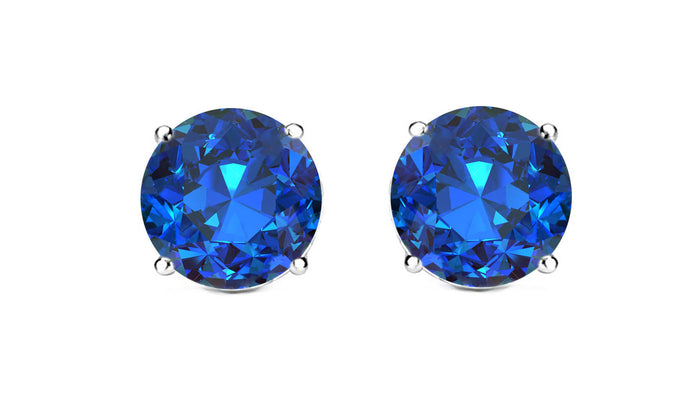 1ct - Sophisticated Sterling Silver Sapphire Stud Earrings