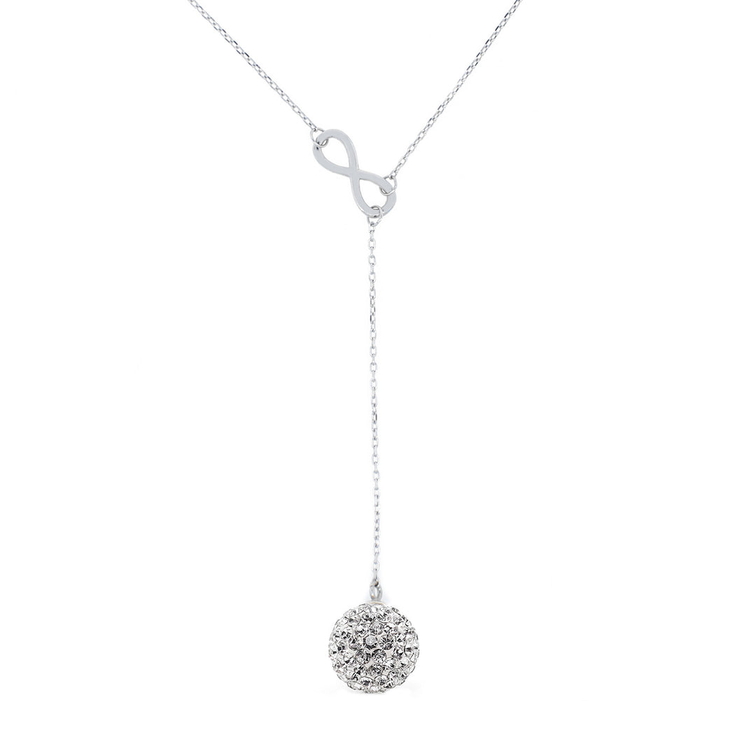 Endearing Sterling Silver Infinity Crystal Necklace