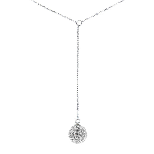 Exquisite Sterling Silver Drop Crystal Necklace