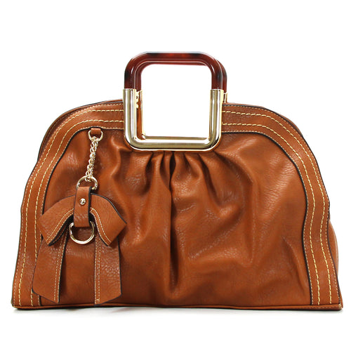Jade Marie Unique Satchel Tote - Saddle
