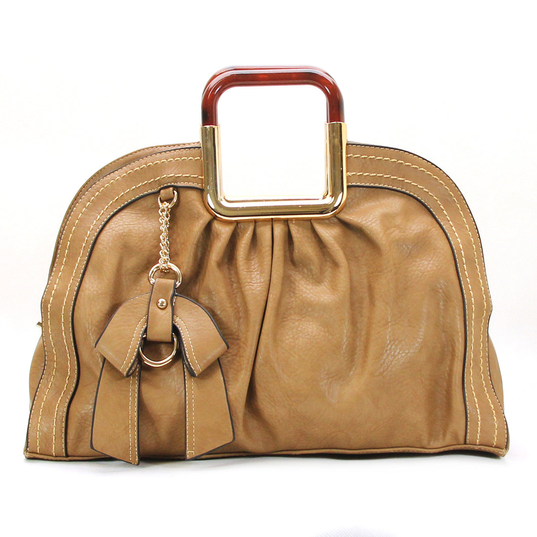 Jade Marie Unique Satchel Tote - Tan
