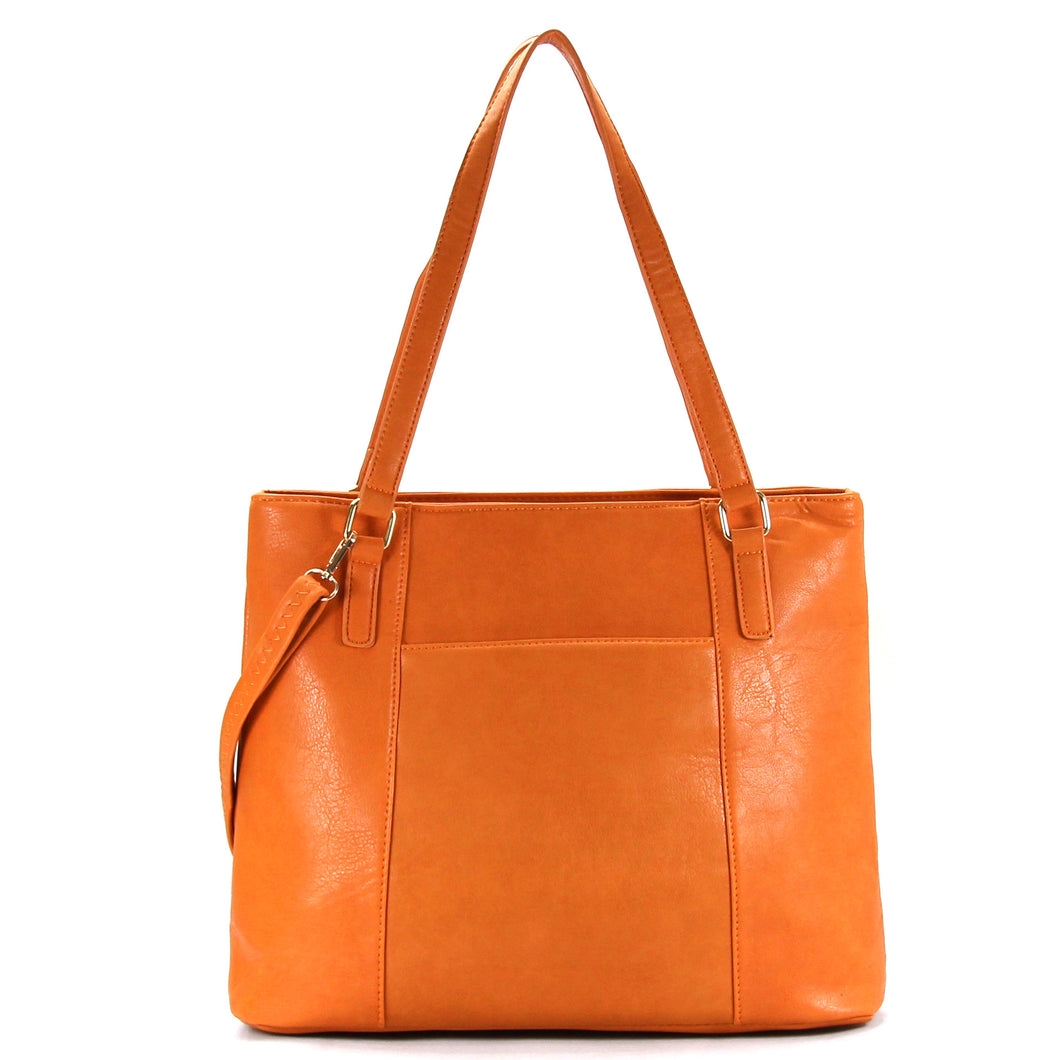 Jade Marie Fashion Sophisticated Tote - Saddle - Handbags & Accessories