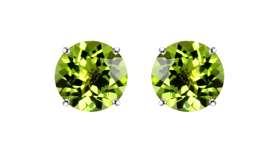 1ct - Sophisticated Sterling Silver Peridot Stud Earrings