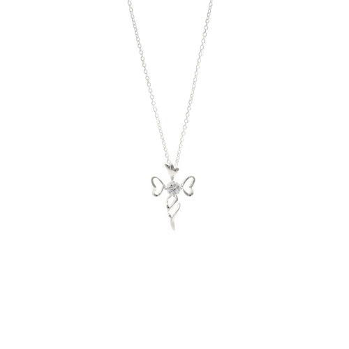Women's Fashion Open Cross Pendant Necklace with CZ Round Cut Stone - Silver