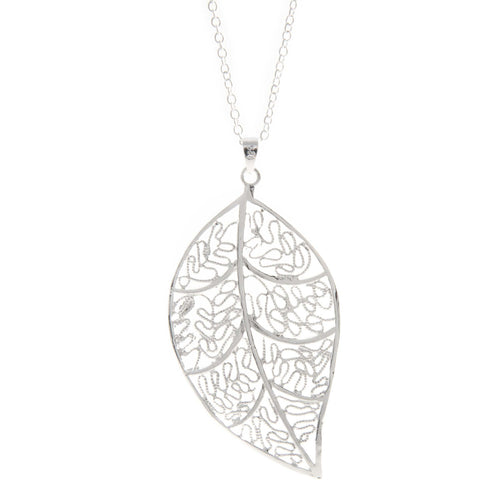 Women's Fashion Open Leaf Pendant Necklace - Silver