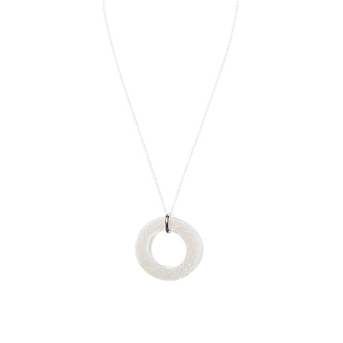 Women's Fashion Circle Pendant Necklace with Mesh Detailing - Silver