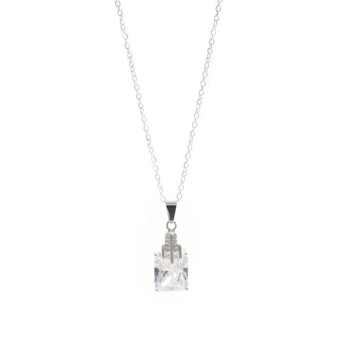Women's Fashion Pendant Necklace with Feature Princess Cut CZ - Silver