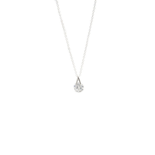 Women's Fashion V Pendant Necklace with Feature Round Cut CZ - Silver