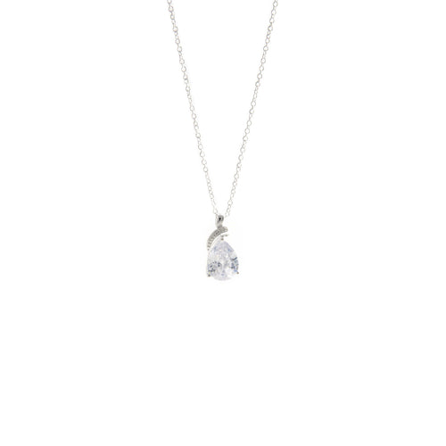 Women's Fashion Pendant Necklace with Feature Pear Shape CZ - Silver