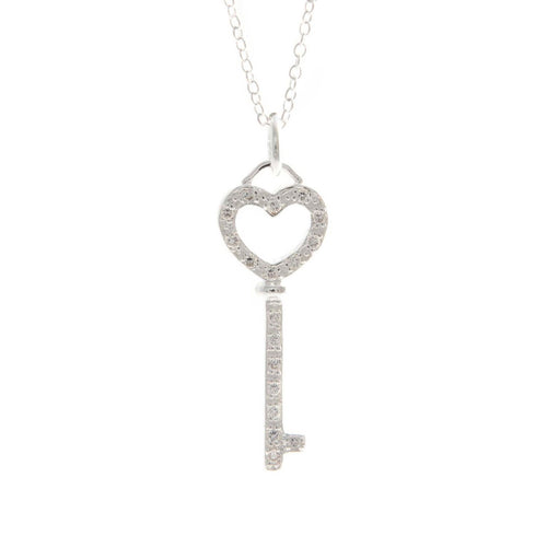 Women's Fashion Heart and Key Pendant Necklace with CZ Accents - Silver