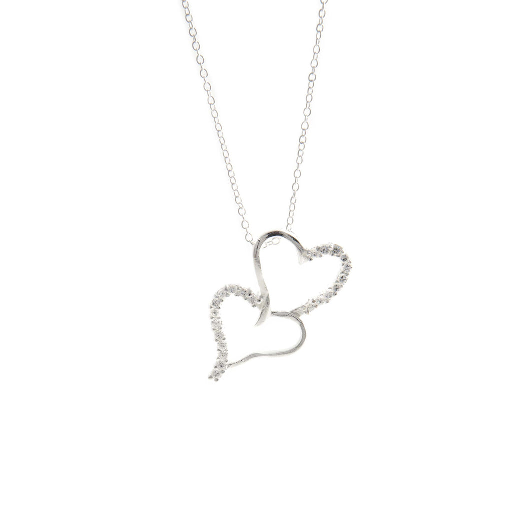 Women's Fashion Double Heart Pendant Necklace with CZ Accents - Silver