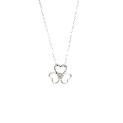 Women's Fashion Open Clover Pendant Necklace with CZ Round Cut Stone - Silver
