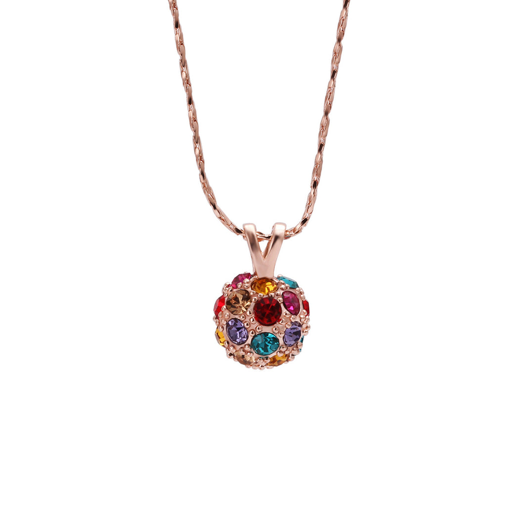 Women's Fashion Crystal Ball Pendant Necklace with Multicolored Crystal Accents - Rose Gold