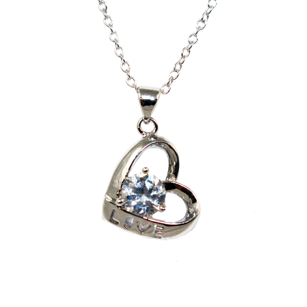 Women's Fashion Love Open Heart Platinum Plated Pendant Necklace with White Round Cut CZ Stone - Silver