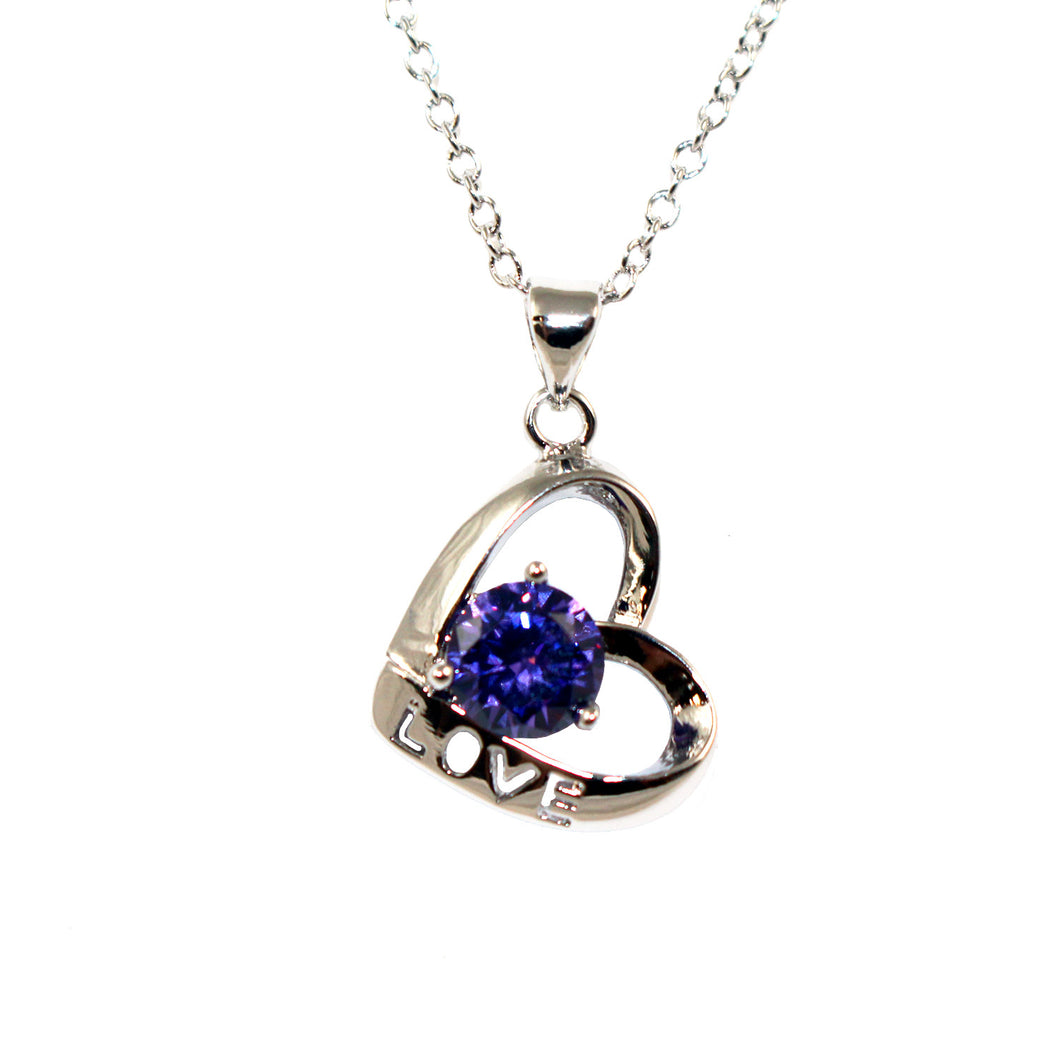 Women's Fashion Love Open Heart Platinum Plated Pendant Necklace with Purple Round Cut CZ Stone - Silver
