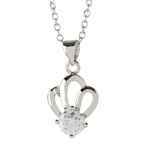 Women's Fashion Platinum Plated Crown Pendant Necklace with White CZ Round Cut Stone - Silver