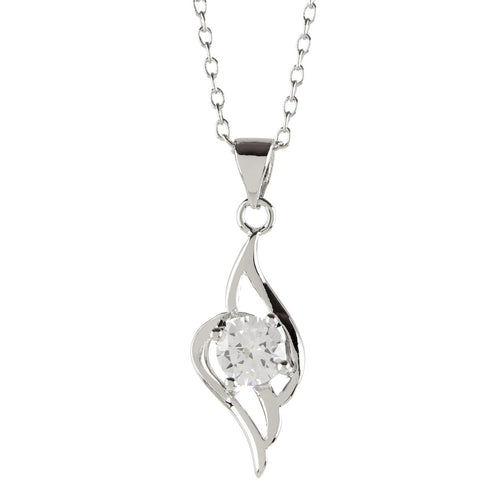 Women's Fashion Platinum Plated Angel Wing Pendant Necklace with White Round Cut CZ Stone - Silver