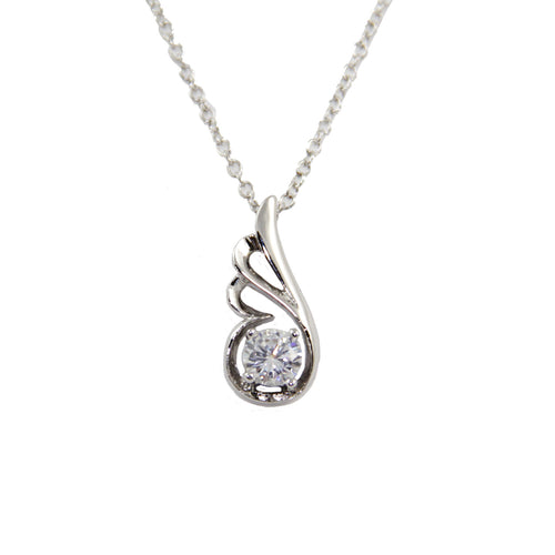 Women's Fashion Platinum Plated Dove Wing Pendant Necklace with White Round Cut CZ Stone - Silver