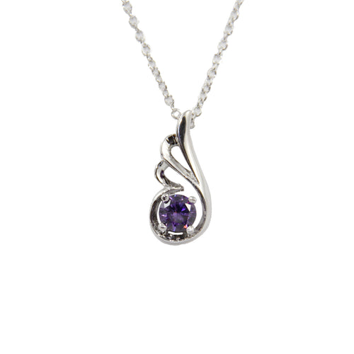 Women's Fashion Platinum Plated Dove Wing Pendant Necklace with Purple Round Cut CZ Stone - Silver