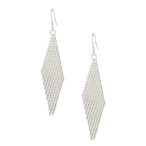 Women's Fashion Diamond Shaped Dangle Drop  Earrings with Mesh Design - Silver