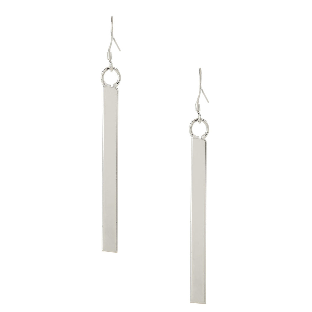 Women's Fashion Dangle Drop Earrings with Chic Bar Design - Silver