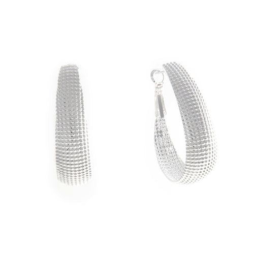 Women's Fashion Hoop Earrings with Wide Textured Fashion Design - Silver