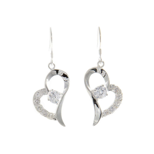 Women's Fashion Heart Shaped Dangle Drop Earrings with CZ Accents - Silver