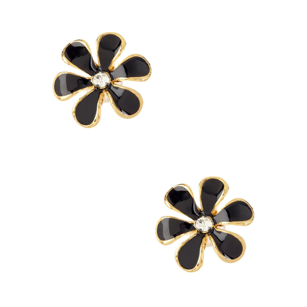 Women's Fashion Flower Stud Earrings with CZ Accents & Black Enamel Design - Gold