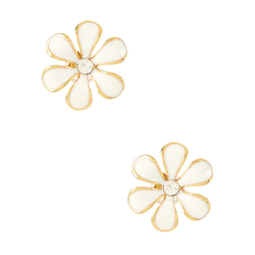 Women's Fashion Flower Stud Earrings with CZ Accents & White Enamel Design - Gold