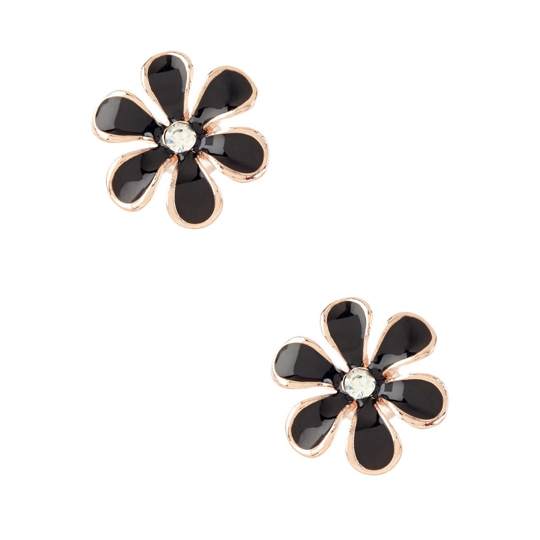 Women's Fashion Flower Stud Earrings with CZ Accents & Black Enamel Design - Rose Gold