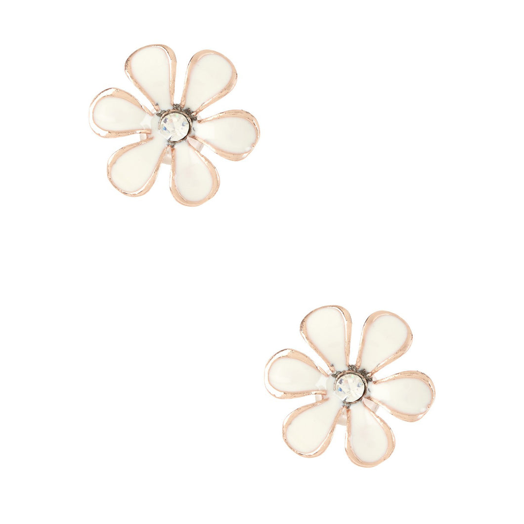 Women's Fashion Flower Stud Earrings with CZ Accents & White Enamel Design - Rose Gold