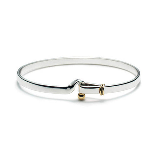 Women's Fashion Bangle Bracelet with Gold Accents & Hook Closure - Silver