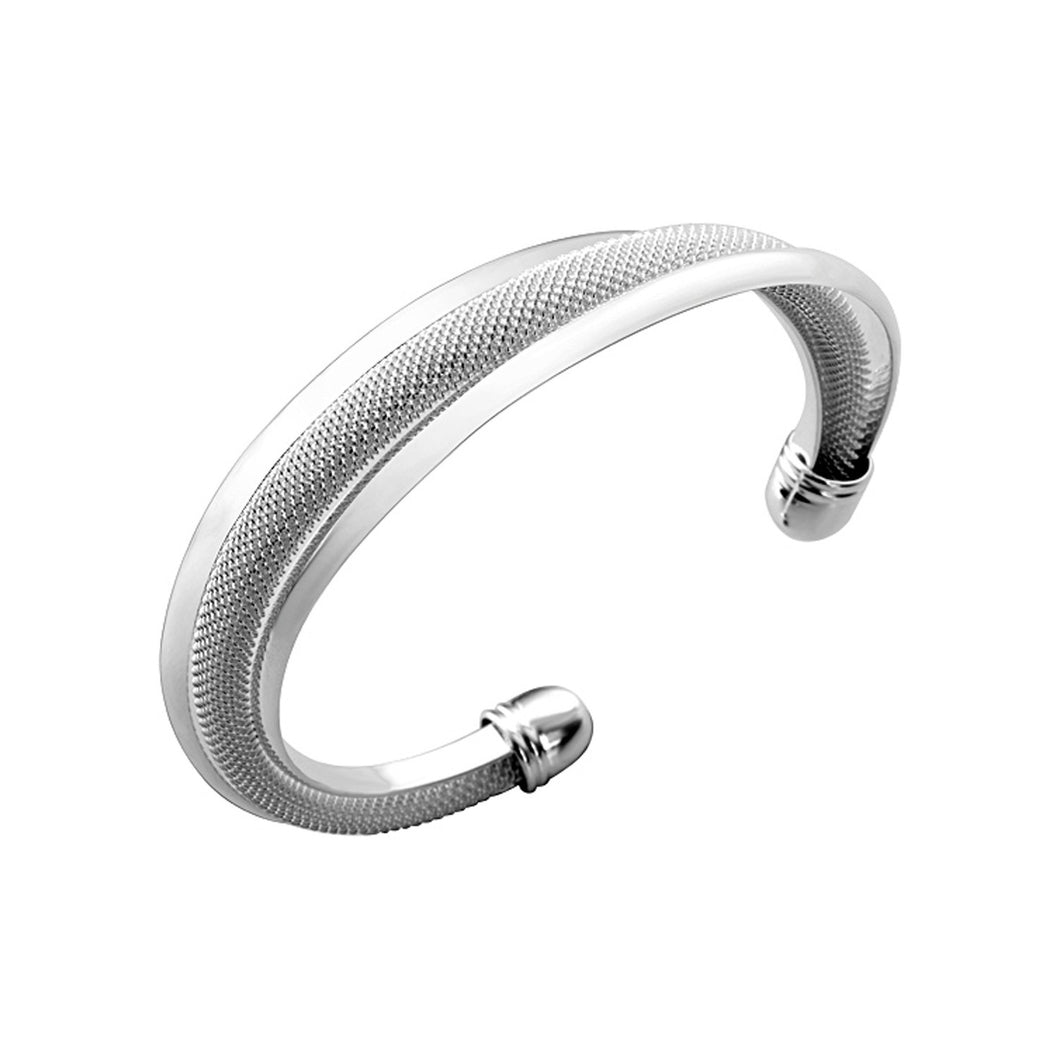 Women's Fashion Cuff Bangle Bracelet with Twisted Mesh Design - Silver
