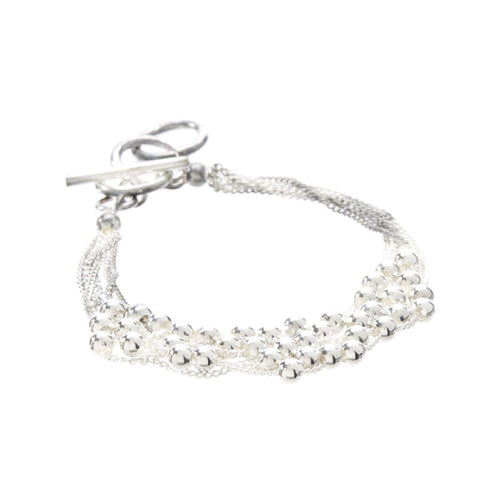 Women's Fashion String Bracelet with Silver Beaded Accents - Silver
