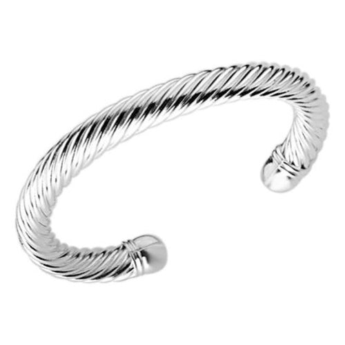 Women's Fashion Cuff Bangle Bracelet with Braided Design - Silver