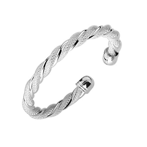Women's Fashion Braided Cuff Bangle Bracelet with Interwoven Mesh Detailing - Silver