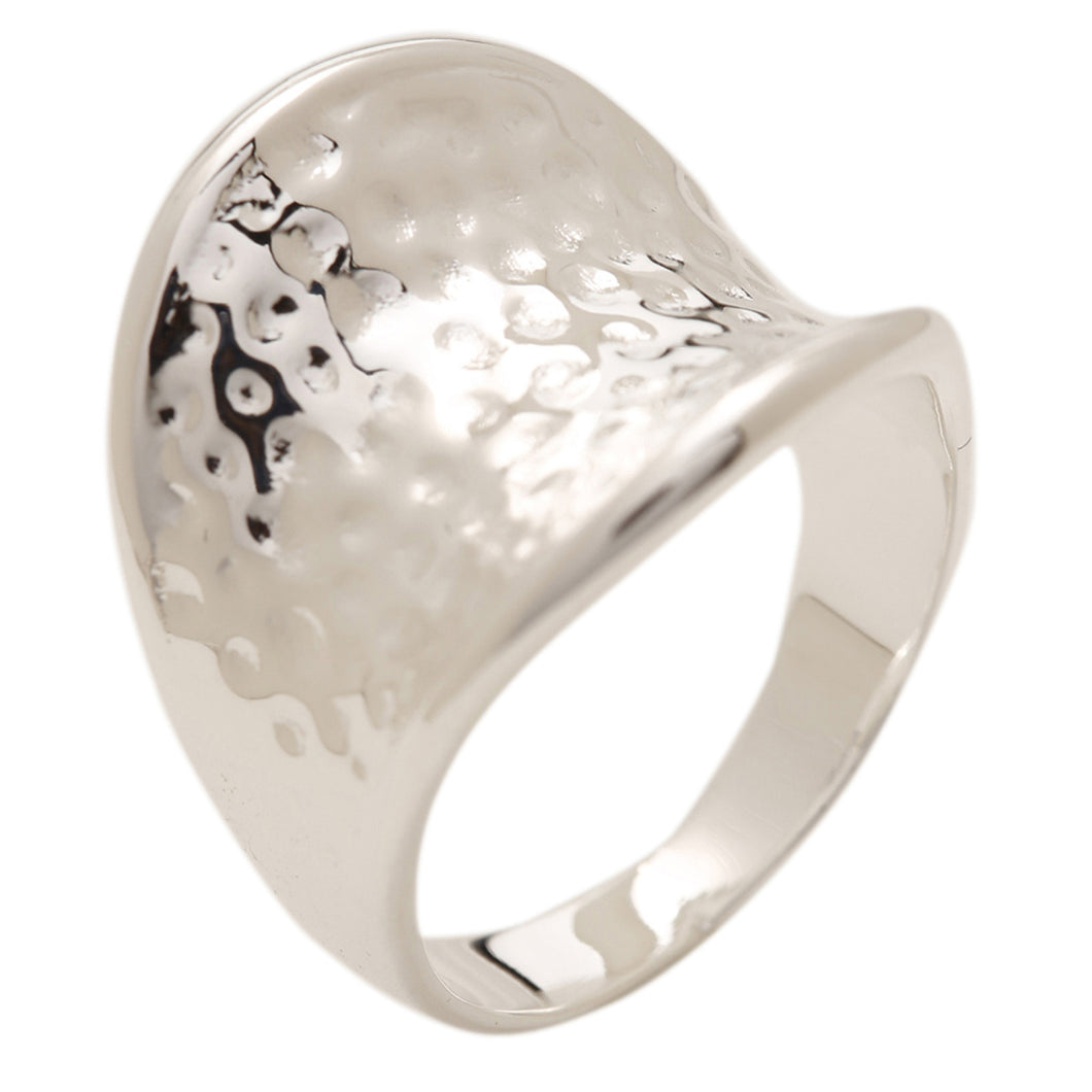 Women's Fashion Hammered Ring - Silver