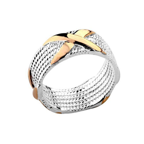 Women's Fashion X Ring with Gold Accented Design - Silver