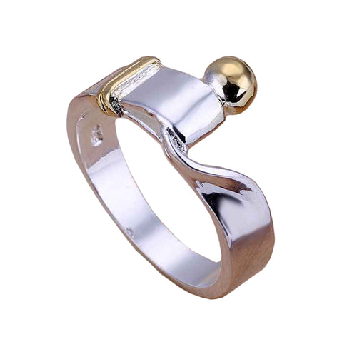Women's Fashion Ring with Gold Accents & Hook Closure - Silver