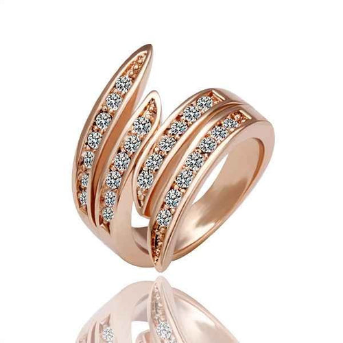 Women's Fashion Channel Band Ring with CZ Accent Design - Rose Gold