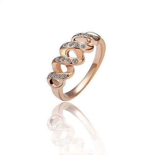 Women's Fashion Endless Infinity Ring with CZ Accent Design - Rose Gold