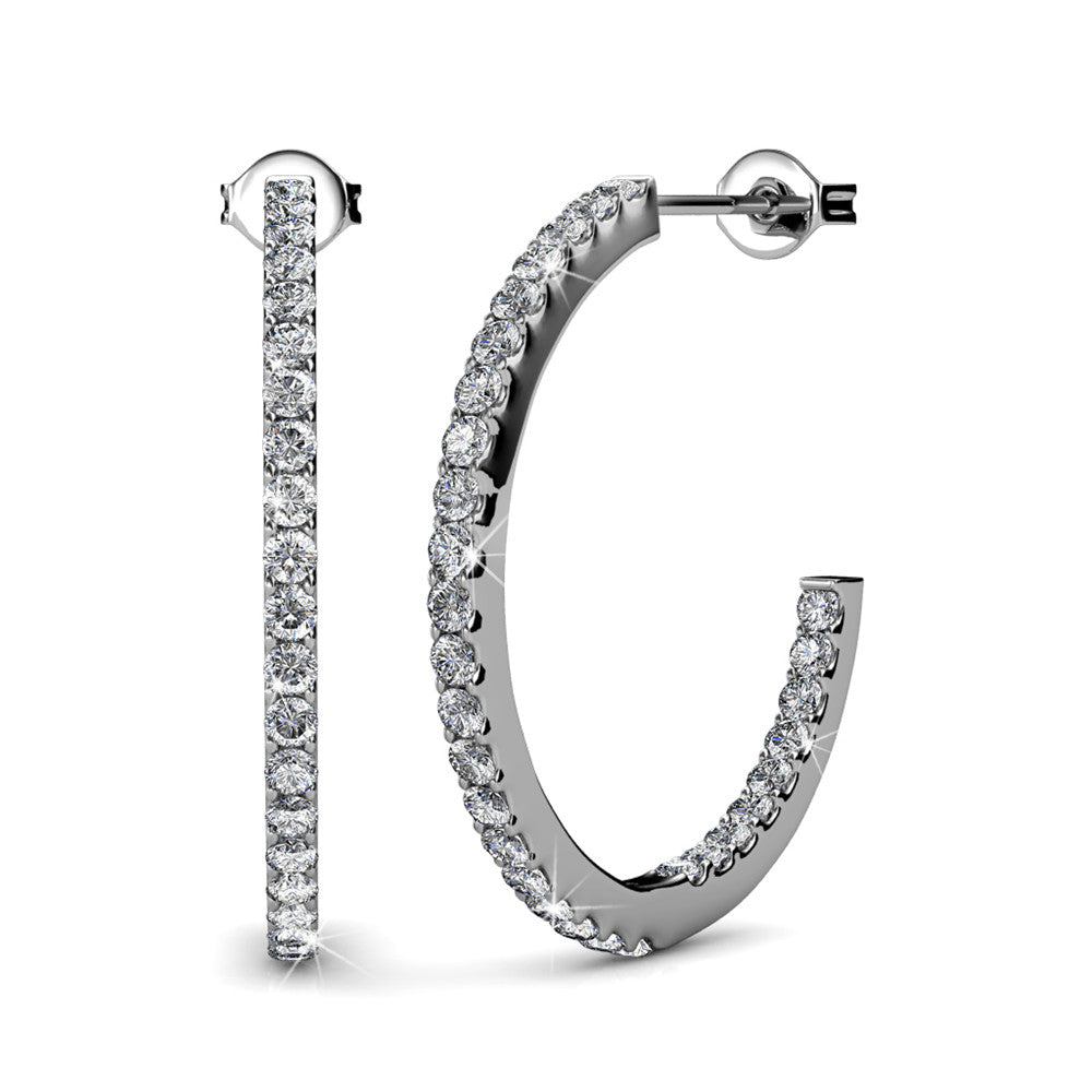 APPEALING Silver 18k White Gold Plated Hoops with Brilliant Round Cut Swarovski Crystals