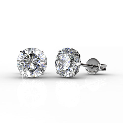 Bold Silver Round Brilliant Cut Solitaire Stud 18k White Gold Plated Stud Earring Set with 1ct Swarovski Crystals