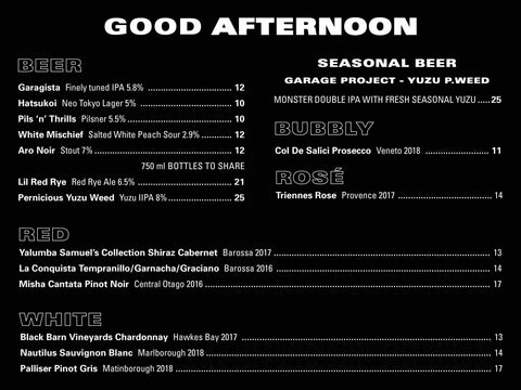 Afternoon Red Rabbit Alcohol Menu