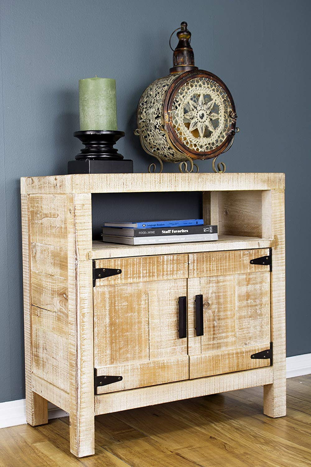 Distressed Wood Wood Iron Accent Cabinet